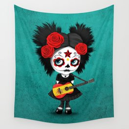 Day of the Dead Girl Playing Spanish Flag Guitar Wall Tapestry