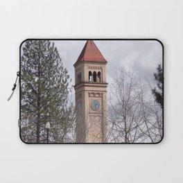 Beautiful Old Clock Tower In Spokane, Washington, Vintage Train Station Clock Tower Laptop Sleeve