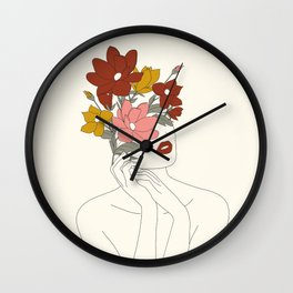 Colorful Thoughts Minimal Line Art Woman with Magnolia Wall Clock