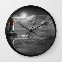 Lighthouse and Sailboat under moonlight Wall Clock