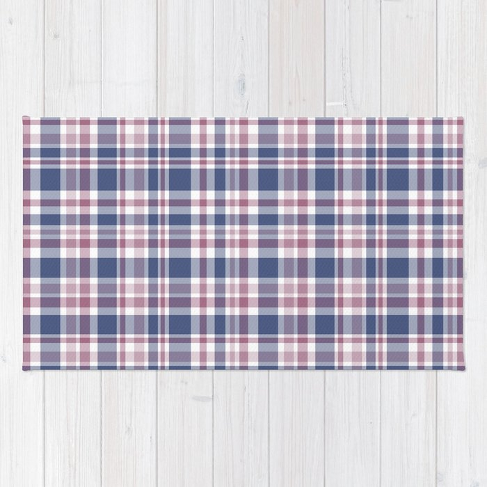 Red And White Checkered Rug: The Checkered Pattern . Scottish . Blue, Red ,white . Rug
