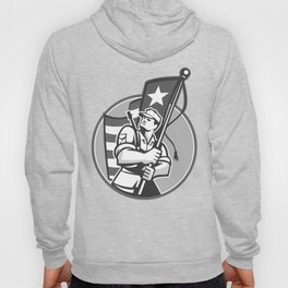 American Patriot Serviceman Soldier Flag Grayscale Hoody