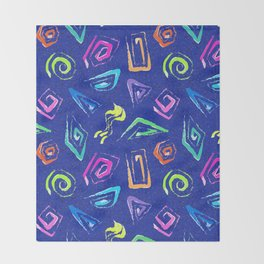 Surf Spiral Shapes in Neon Periwinkle Throw Blanket