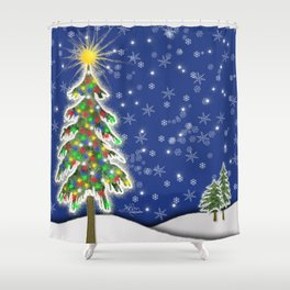 Lighted Christmas Tree at Night with Snowflakes Shower Curtain