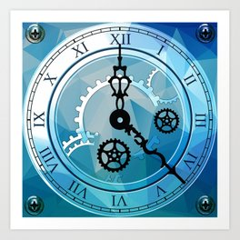 Blue Clock Art Print