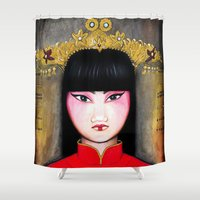 asia Shower Curtains featuring Asia by Melanie Arias