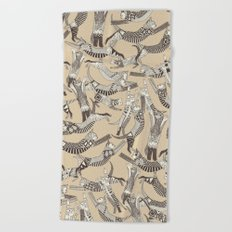cat party beige natural Beach Towel