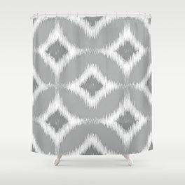 Elegant White Gray Retro Circles Squares Ikat Pattern Shower Curtain