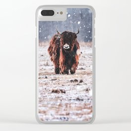 Bison in the snow Clear iPhone Case