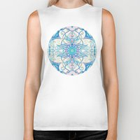 bedding Biker Tanks featuring Teal Blue, Pearl & Pink Floral Pattern by micklyn