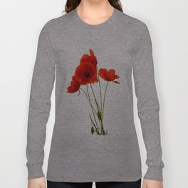 Delicate Red Poppies Vector Long Sleeve T-shirt