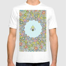 FLOWER POWER BEE Mens Fitted Tee White MEDIUM