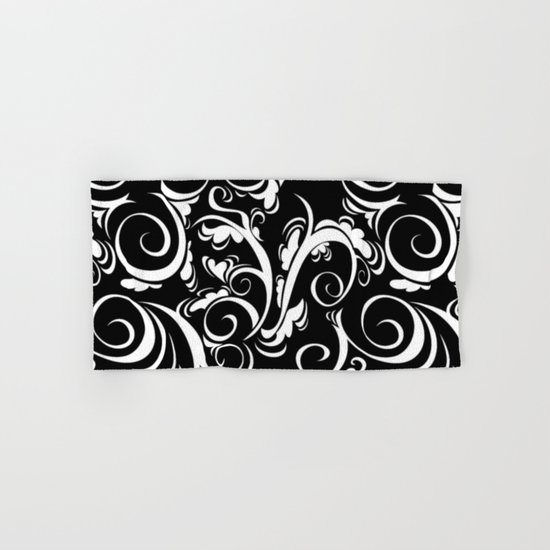 Black White Flora Hand & Bath Towel