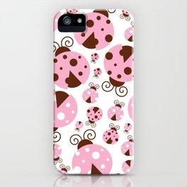 Ladybugs (Ladybirds, Lady Beetles) - Pink Brown iPhone Case