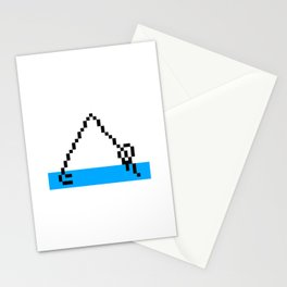 Pixel Art Yoga Downward Dog Pose Stationery Cards