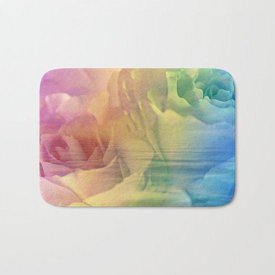 Rainbow Rose Water Abstract Bath Mat