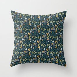 Smiling Elephants in the Jungle Throw Pillow
