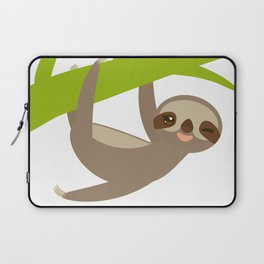 funny and cute smiling Three-toed sloth on green branch Laptop Sleeve