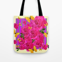 PINK GARDEN ROSES & YELLOW BUTTERFLIES MODERN ART FROM SOCIETY6   BY SHARLESART. Tote Bag