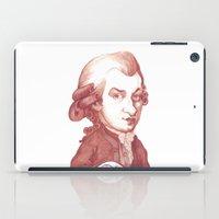 mozart iPad Cases featuring Amadeus Mozart portrait by Stavros Damos