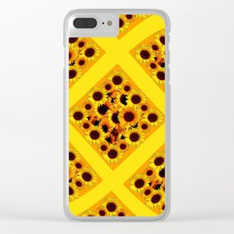ABSTRACT GOLDEN YELLOW SUNFLOWERS  PATTERN  DESIGN Clear iPhone Case