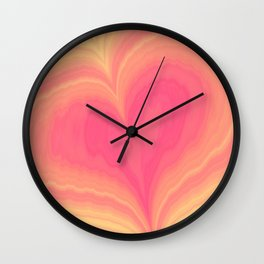 Abstract Tropical Pastel Rainbow Heart Pattern | Valentine's Day Wall Clock