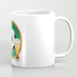 Two beer glasses and soccer ball in green circle Coffee Mug