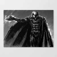 berserk Canvas Prints featuring Wings of Jet Black by Jessica Bellamy