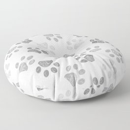 Black and grey paw print pattern Floor Pillow
