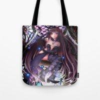 madoka magica Tote Bags featuring Homura Akemi - Madoka Magica Rebellion by SauceBox16