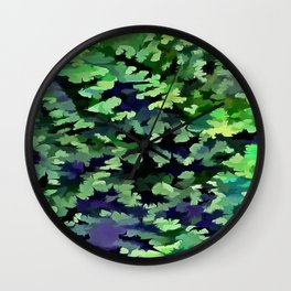 Foliage Abstract Camouflage In Forest Green and Black Wall Clock