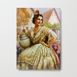 Mexican Calendar Girl in Embroidered Dress by Jesus Helguera Metal Print
