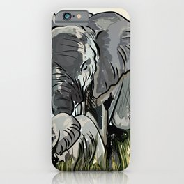 Elephant Mother And Calf Roaming In The Forest iPhone Case