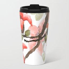 red orange kapok flowers watercolor Travel Mug