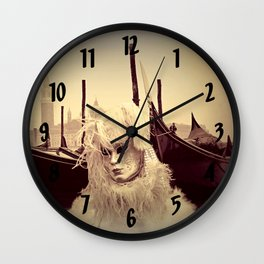 Venice Italy Carnival - Girl in Mask and Gondolas Wall Clock