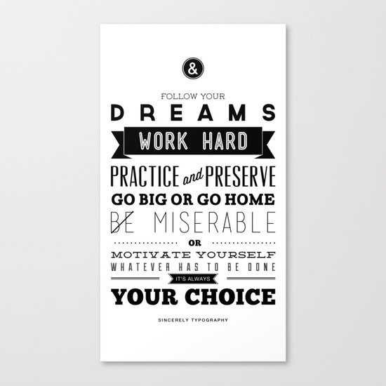 Sincerely Typography Canvas Print