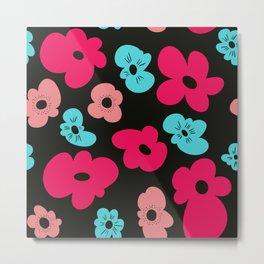 Funky poppies (black background) Metal Print