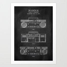Boombox patent chalkboard Art Print