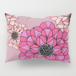 Pink Abstract Flowers Sketch Illustrated Pattern Pillow Sham