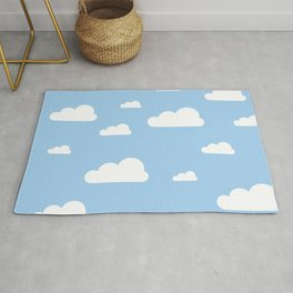 White clouds on baby blue Rug