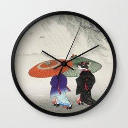 Rainy Day Geisha Wall Clock