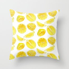 Fresh Lemon Fruit Slices Throw Pillow