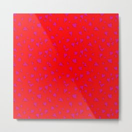 Scattered Hand-Drawn Bright Hot Pink Painted Hearts Pattern on Bright Red Metal Print