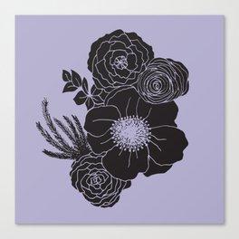 Flora - Purple & Black Canvas Print