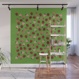 All over Modern Ladybug on Green Background Wall Mural
