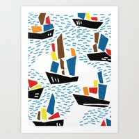 boats Art Prints featuring boats by frameless