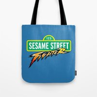 sesame street Tote Bags featuring Sesame Street Fighter by Franz24