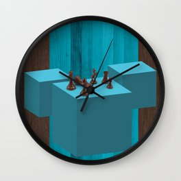 3D Chess Pieces Didital Art Wall Clock