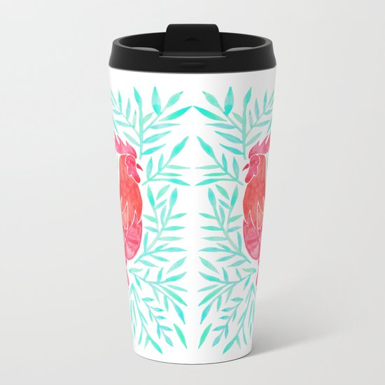 Le Coq – Watercolor Rooster with Mint Leaves Metal Travel Mug