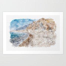 Aquarelle sketch art. Santorini Vlichada beach, blue sky and sea Art Print